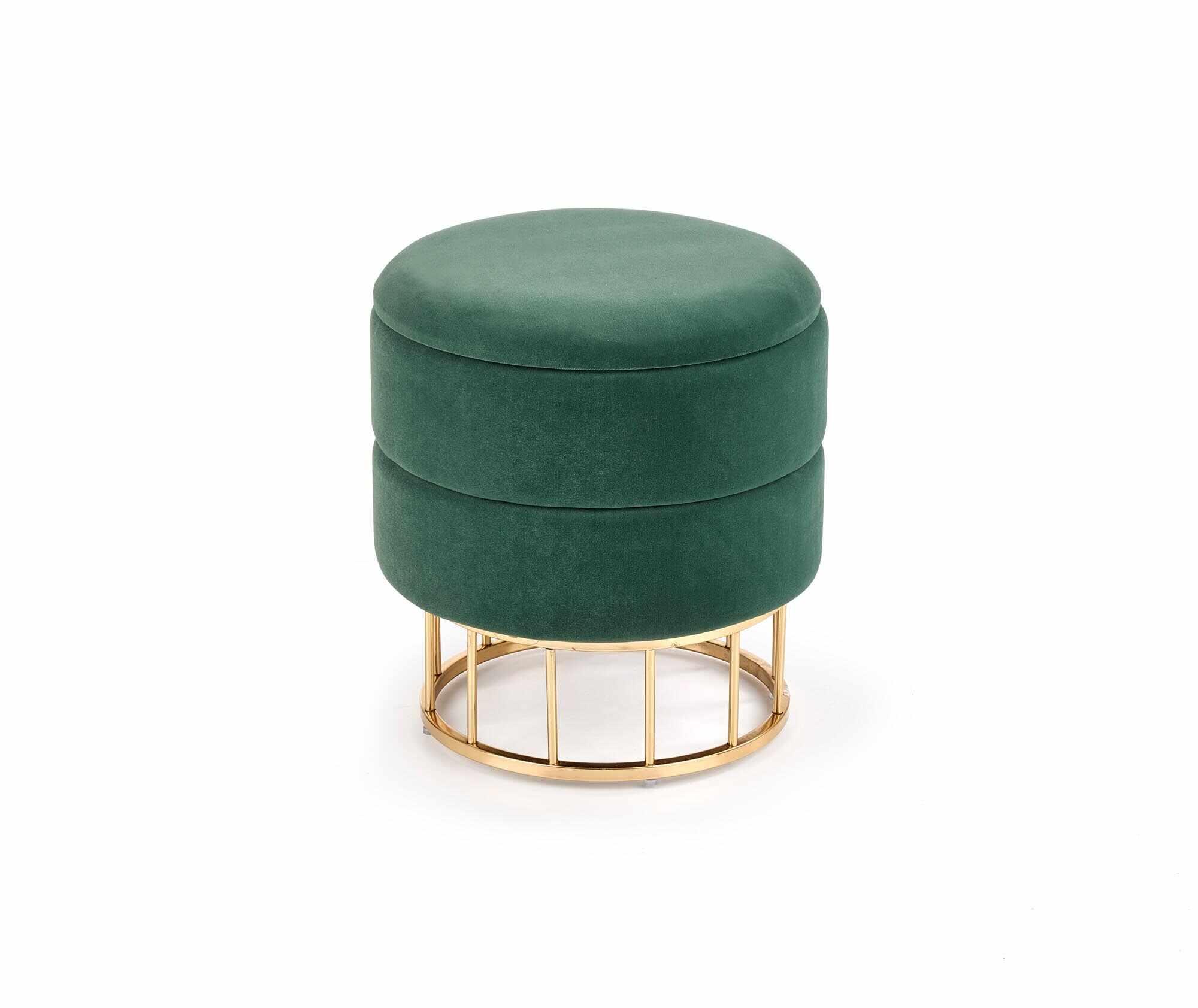 Taburet tapitat cu stofa si spatiu de depozitare Minty Verde inchis / Auriu, Ø37xH41 cm la pret 223 lei