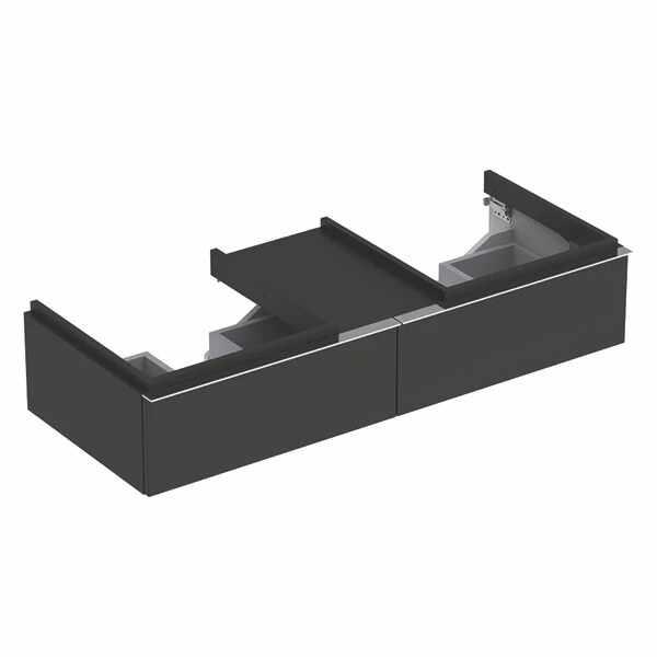 Dulap baza pentru 2 lavoare suspendat negru Geberit Icon 2 sertare si 1 blat 119 cm la pret 3205 lei