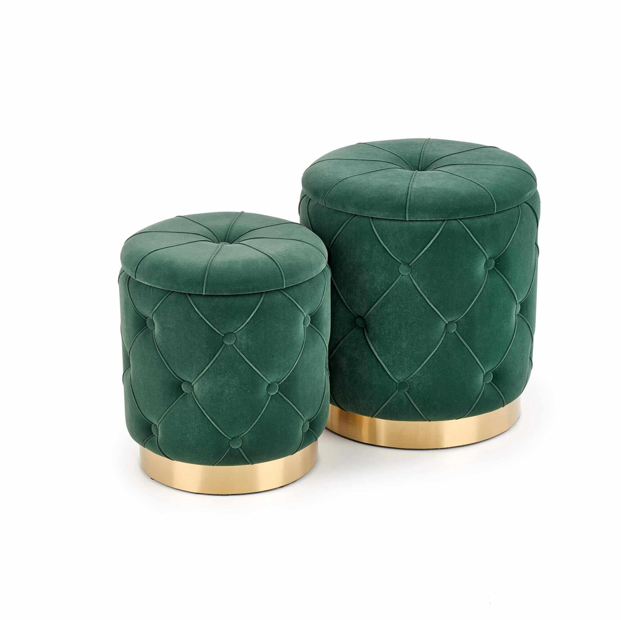 Set 2 taburete tapitate cu stofa si spatiu de depozitare Polly Verde inchis, Ø40xH44 / Ø33xH38 cm la pret 411 lei