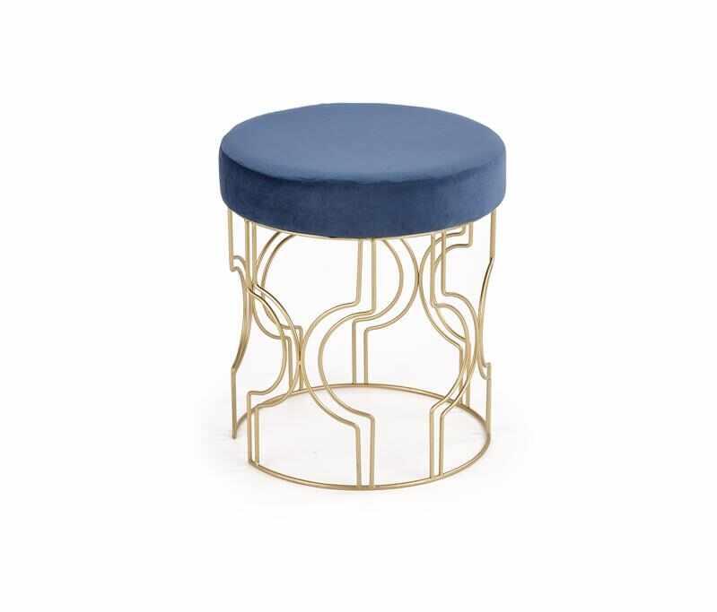Taburet tapitat cu stofa si picioare metalice Ferrero Albastru inchis / Auriu, Ø40xH46 cm la pret 206 lei
