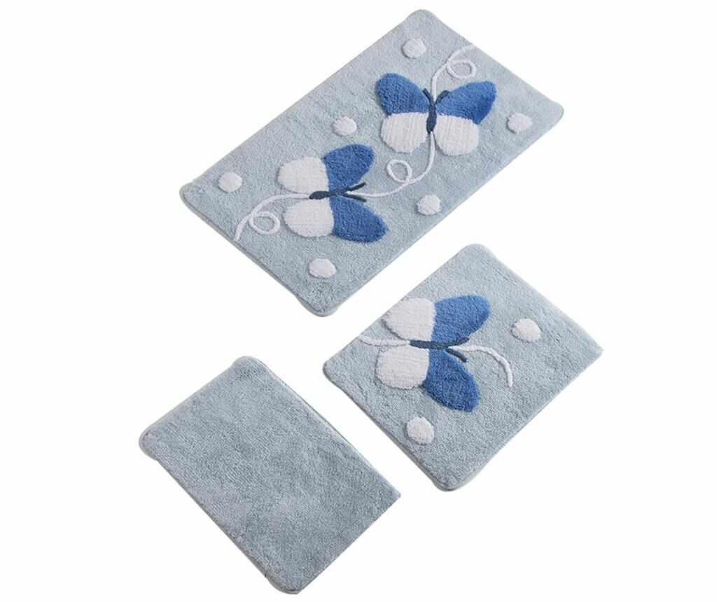 Set 3 covorase de baie Butterfly Blue la pret 169.99 lei