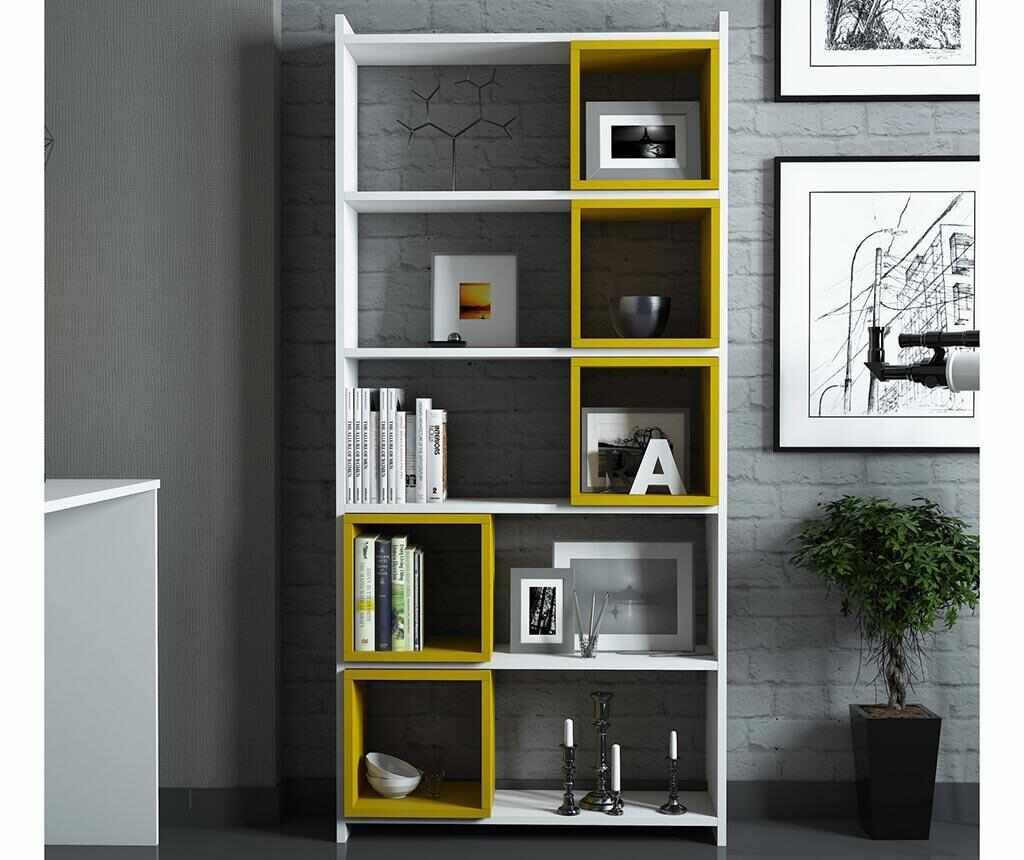 Set corp biblioteca si 5 rafturi modulare Devona White and Yellow la pret 679.99 lei