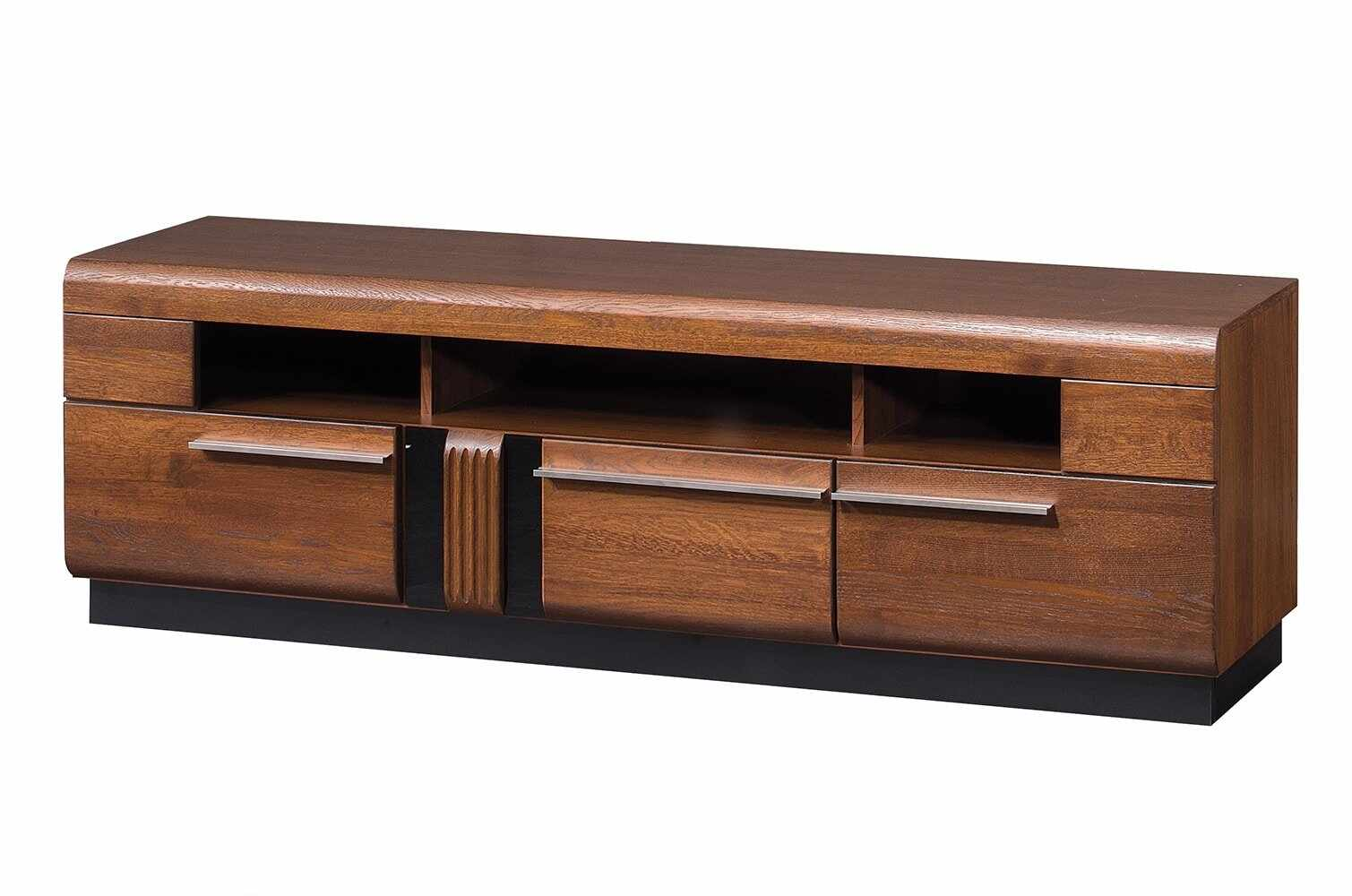 Comoda TV din MDF si pal, cu 3 sertare Porti 25 Stejar Antic, l160xA42xH51 cm la pret 2077 lei