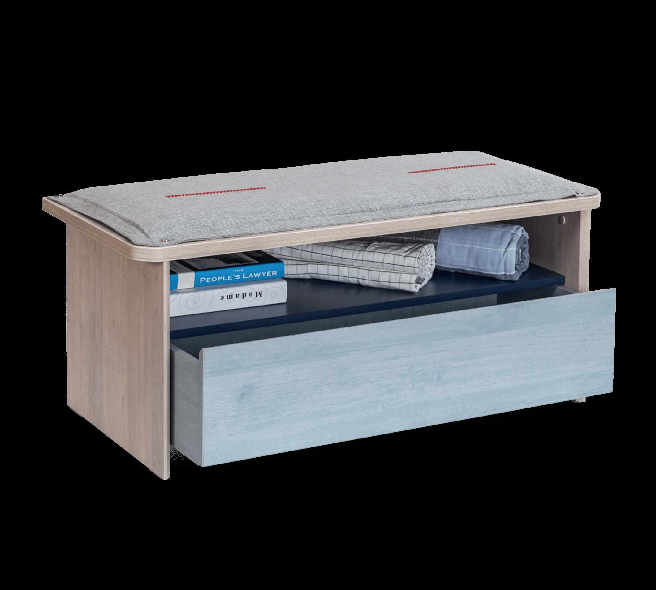 Banca din pal cu 1 sertar pentru tineret, baieti 12-24 ani, Trio Natur / Blue, l98xA43xH43 cm la pret 605 lei