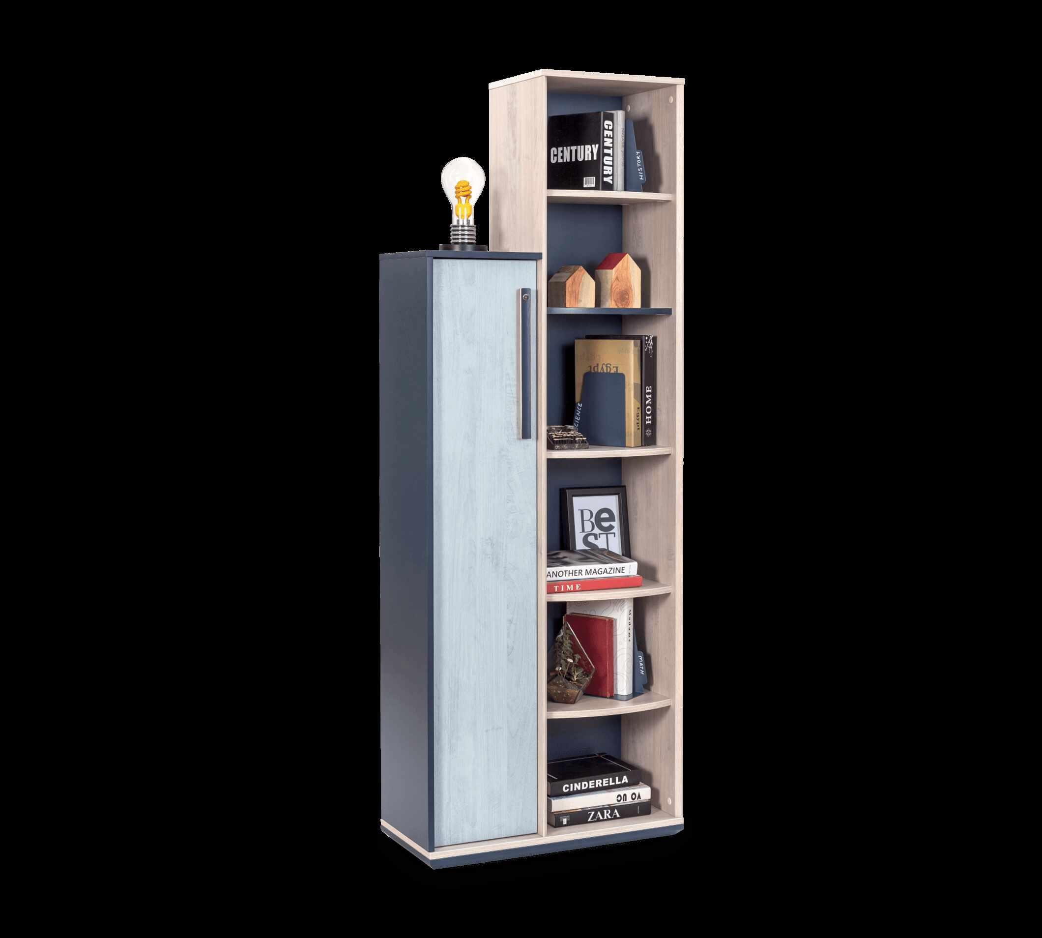 Biblioteca din pal cu 1 usa pentru tineret, baieti 12-24 ani, Trio Natur / Blue, l69xA32xH192 cm la pret 866 lei