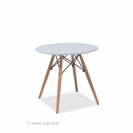 Masa din lemn si MDF Soho, alb/stejar, Ø80xh73 cm la pret 518 lei