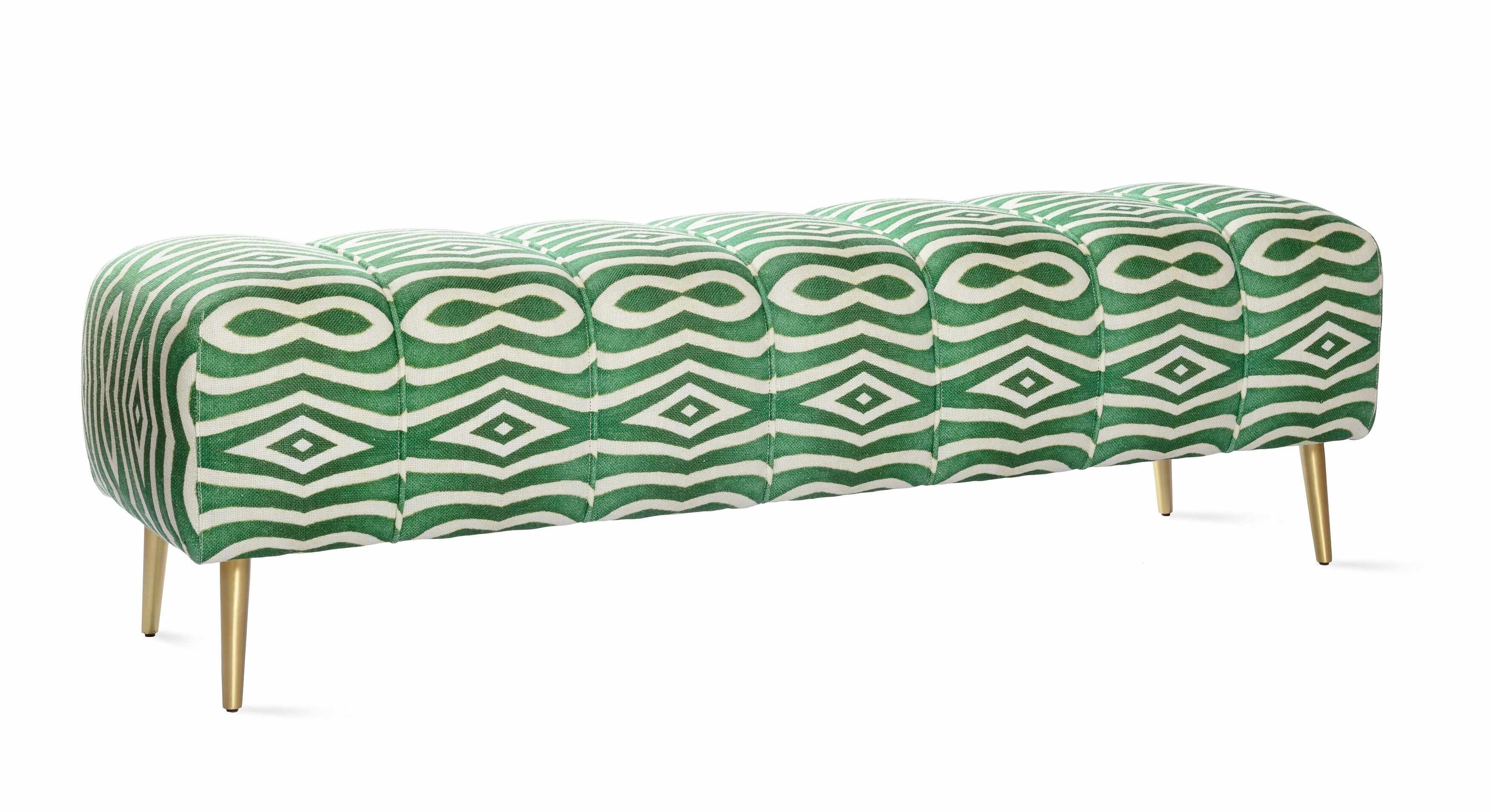 Banca tapitata cu stofa, cu picioare metalice Riverside Green / White, l140xA45xH40 cm la pret 4245 lei