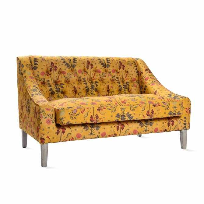 Canapea fixa tapitata cu stofa, cu picioare din lemn Gipsy Ochre Yellow / Antique Grey, l126xA83xH76 cm la pret 11844 lei