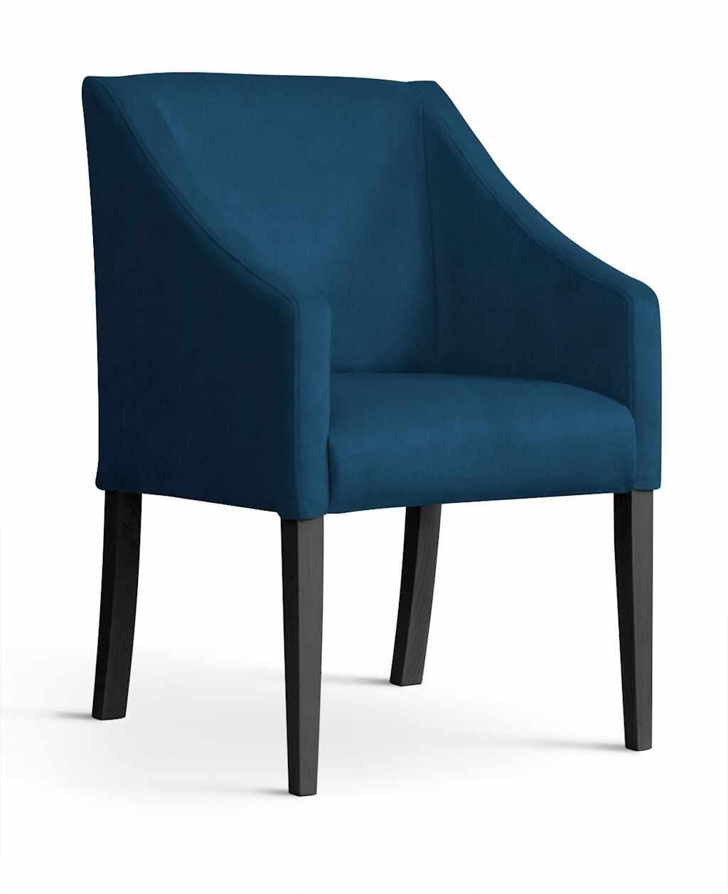 Fotoliu fix tapitat cu stofa, cu picioare din lemn Capri Navy Blue / Black, l58xA60xH89 cm la pret 686 lei