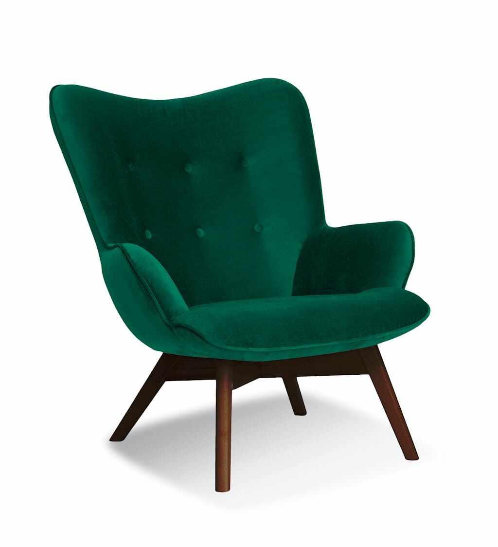 Fotoliu fix tapitat cu stofa, cu picioare din lemn Cherub Green / Walnut, l79xA91xH93 cm la pret 1081 lei