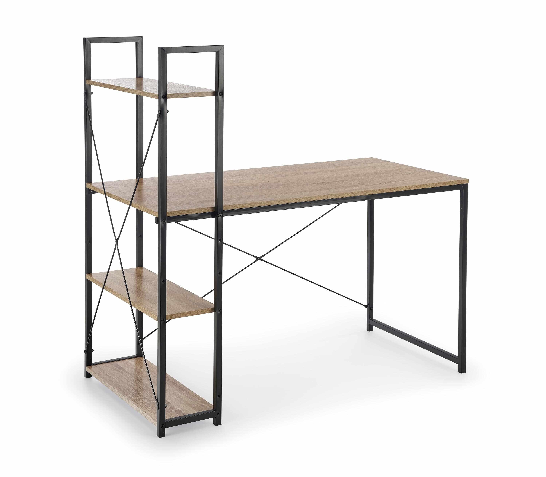 Masa de birou cu etajera, din pal si metal Narvik B1 Sonoma Oak / Black, L120xl64xH120 cm la pret 314 lei