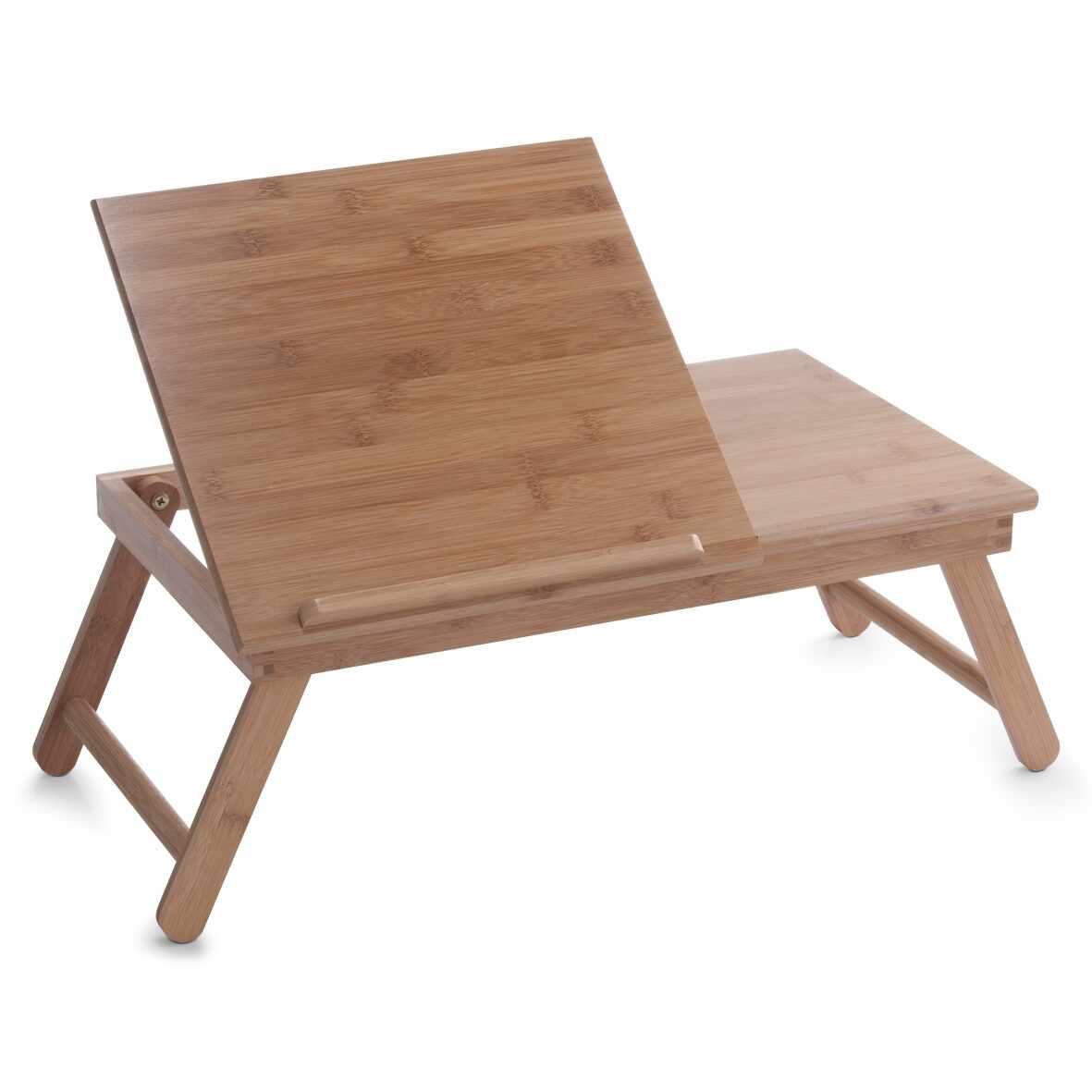 Masuta pentru servire pat, cu suport de carte, Natural Bamboo, L55xl33xH21,5 cm la pret 209 lei