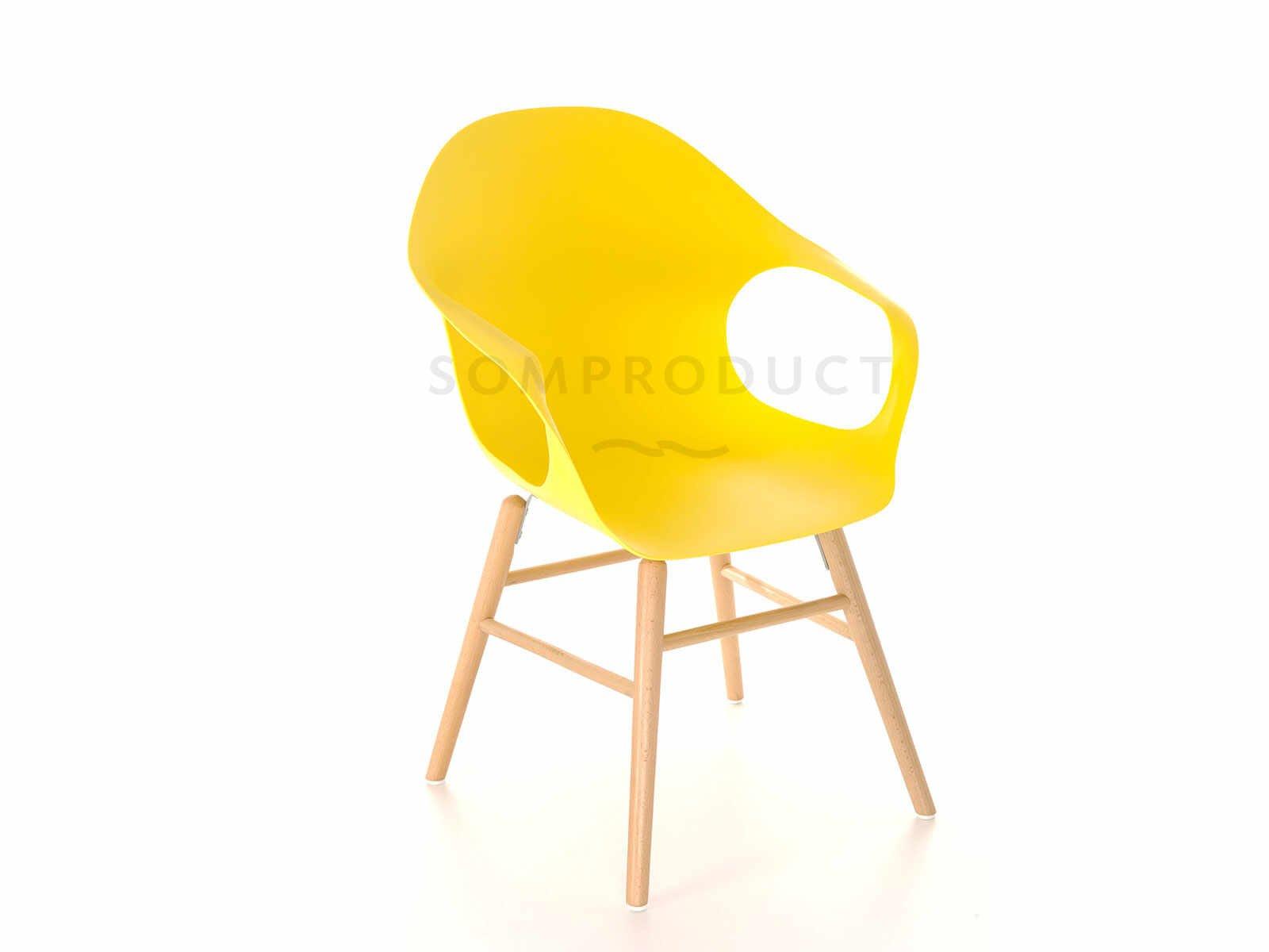 Scaun din plastic cu picioare de lemn Britt Yellow, l58,5xA62,5xH86 cm la pret 259 lei