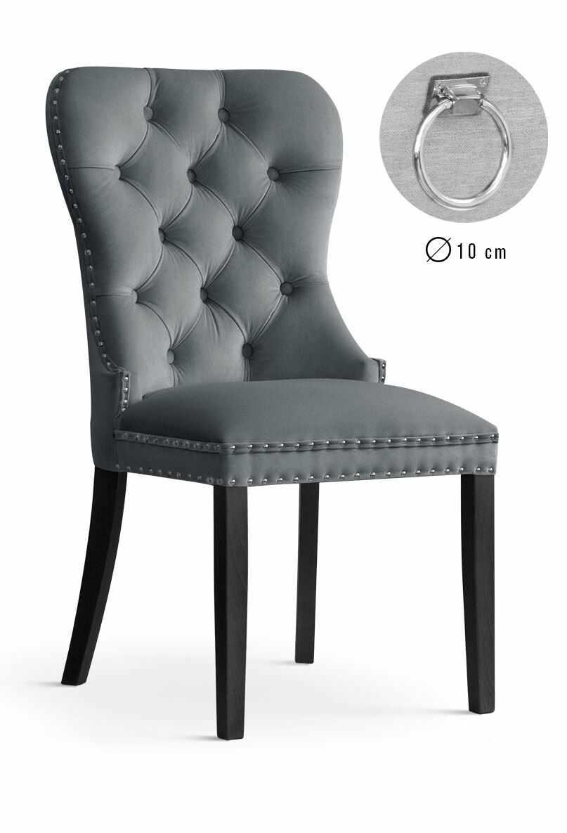 Scaun tapitat cu stofa, cu picioare din lemn Madame II Grey / Black, l51xA63xH99 cm la pret 869 lei