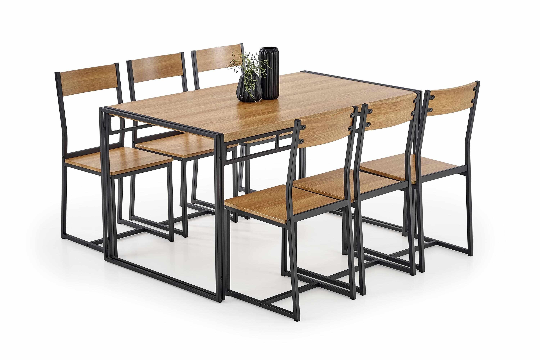 Set masa din MDF si metal + 6 scaune Bolivar Golden Oak / Black, L140xl80xH75 cm la pret 1135 lei
