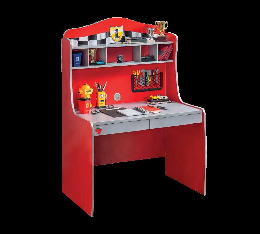 Masa de birou din pal cu etajera si 2 sertare, pentru copii Race Cup Rosu, L104xl68xH152 cm la pret 866 lei