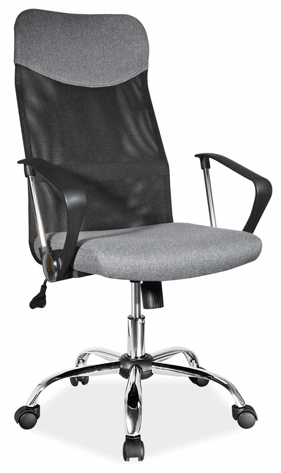 Scaun de birou ergonomic tapitat cu stofa Q-025 Grey, l62xA50xH107-116 cm la pret 426 lei