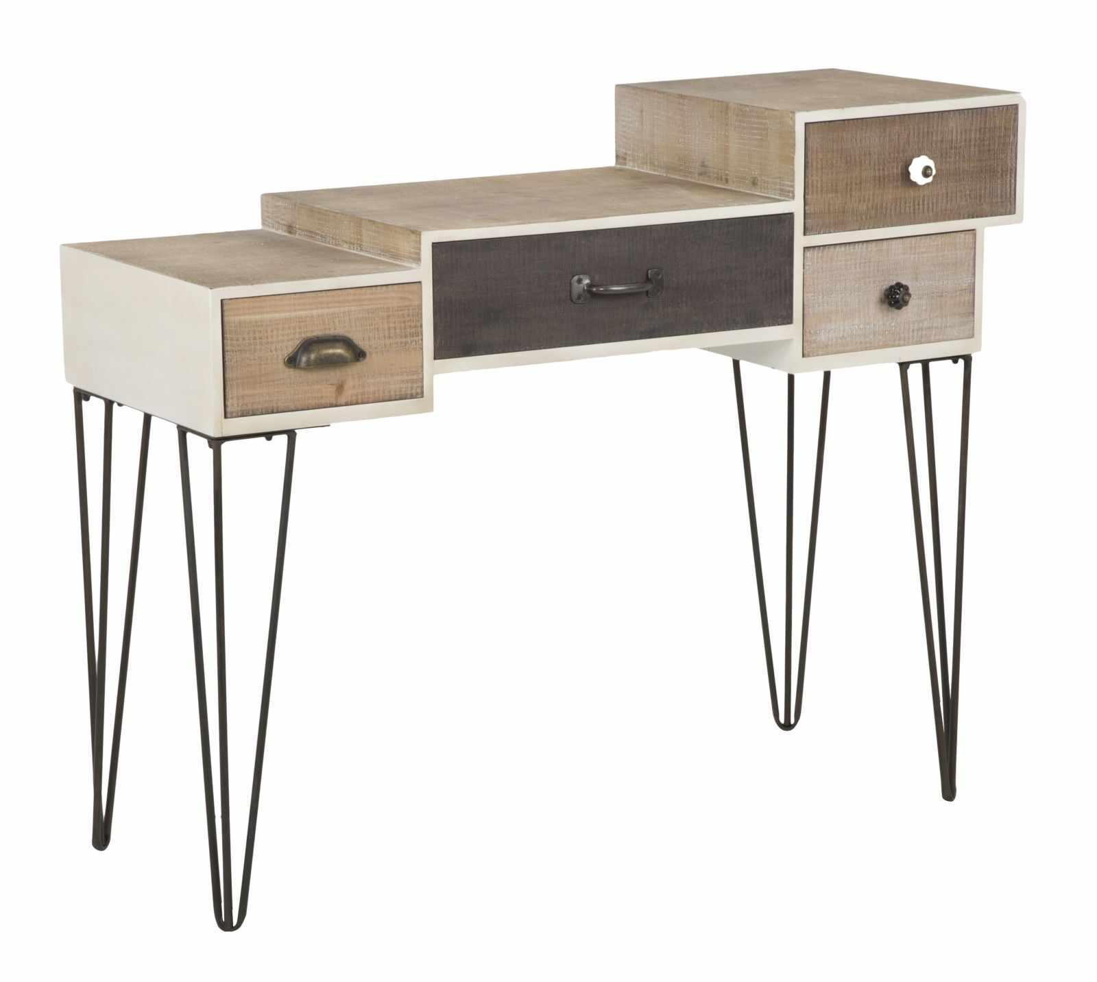 Consola din lemn, cu 4 sertare Raw Multicolor, l106xA44xH85 cm la pret 1095 lei