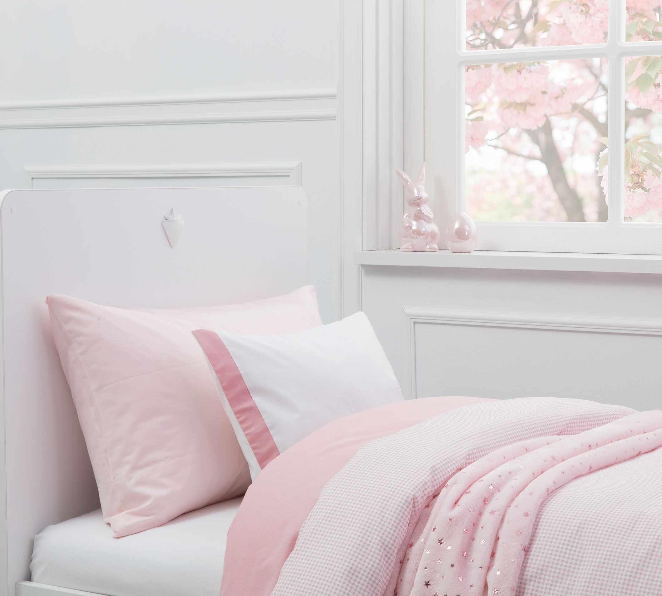 Lenjerie de pat copii bumbac Pure Roz la pret 204 lei