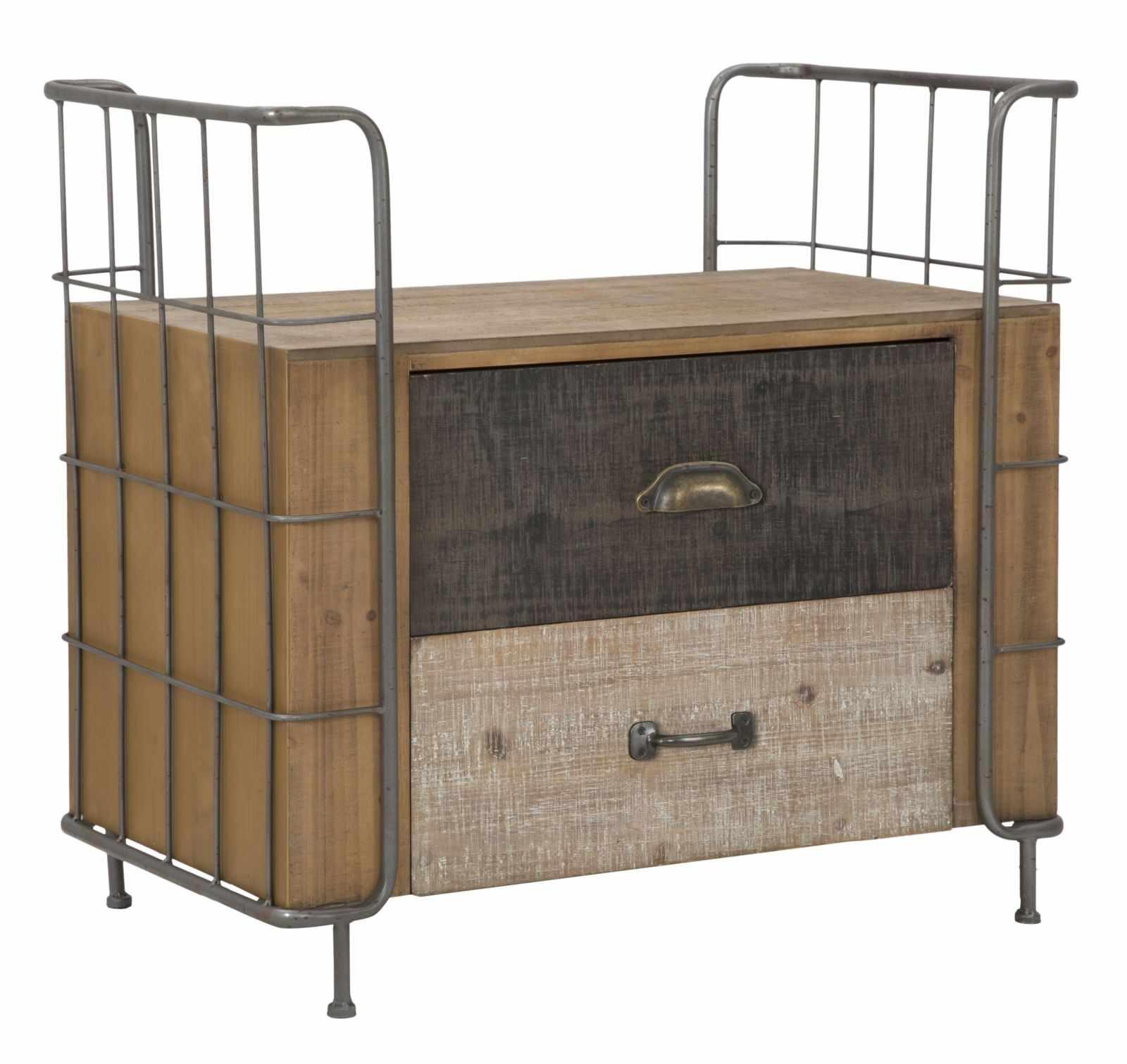 Noptiera din lemn si metal, cu 2 sertare Express Natural, l71,5xA43,5xH67 cm la pret 1056 lei