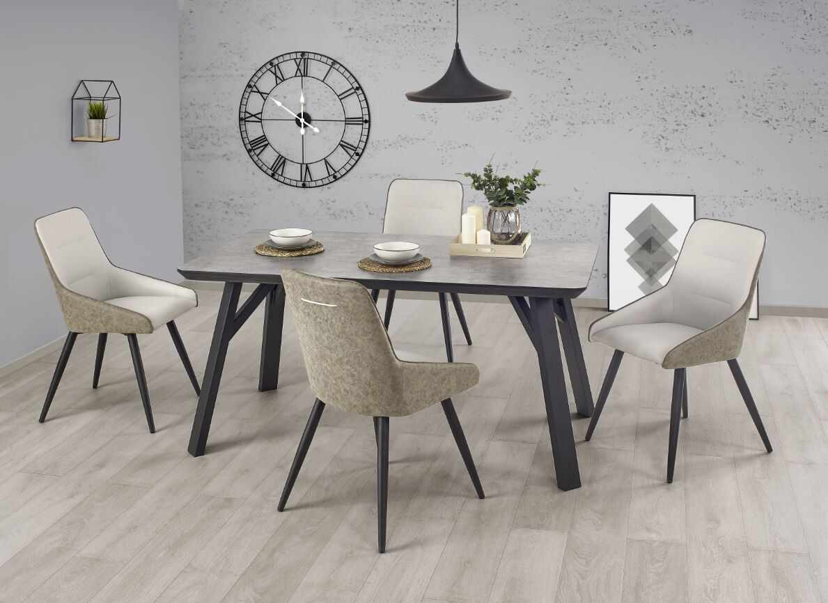 Set masa din metal si MDF Halifax Grey / Black + 4 scaune K243 Grey / Black, L160xl90xh76 cm