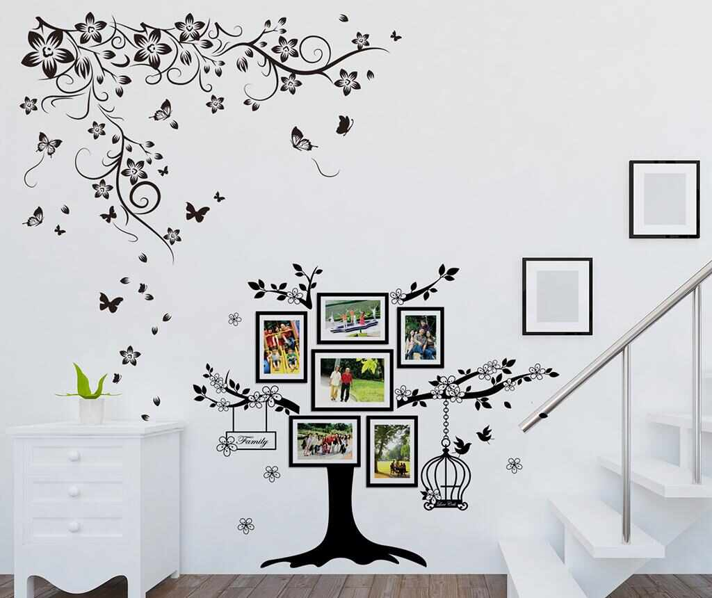 Sticker cu 6 rame foto Butterfly Vine and Photo Frame Birdcage la pret 65.99 lei