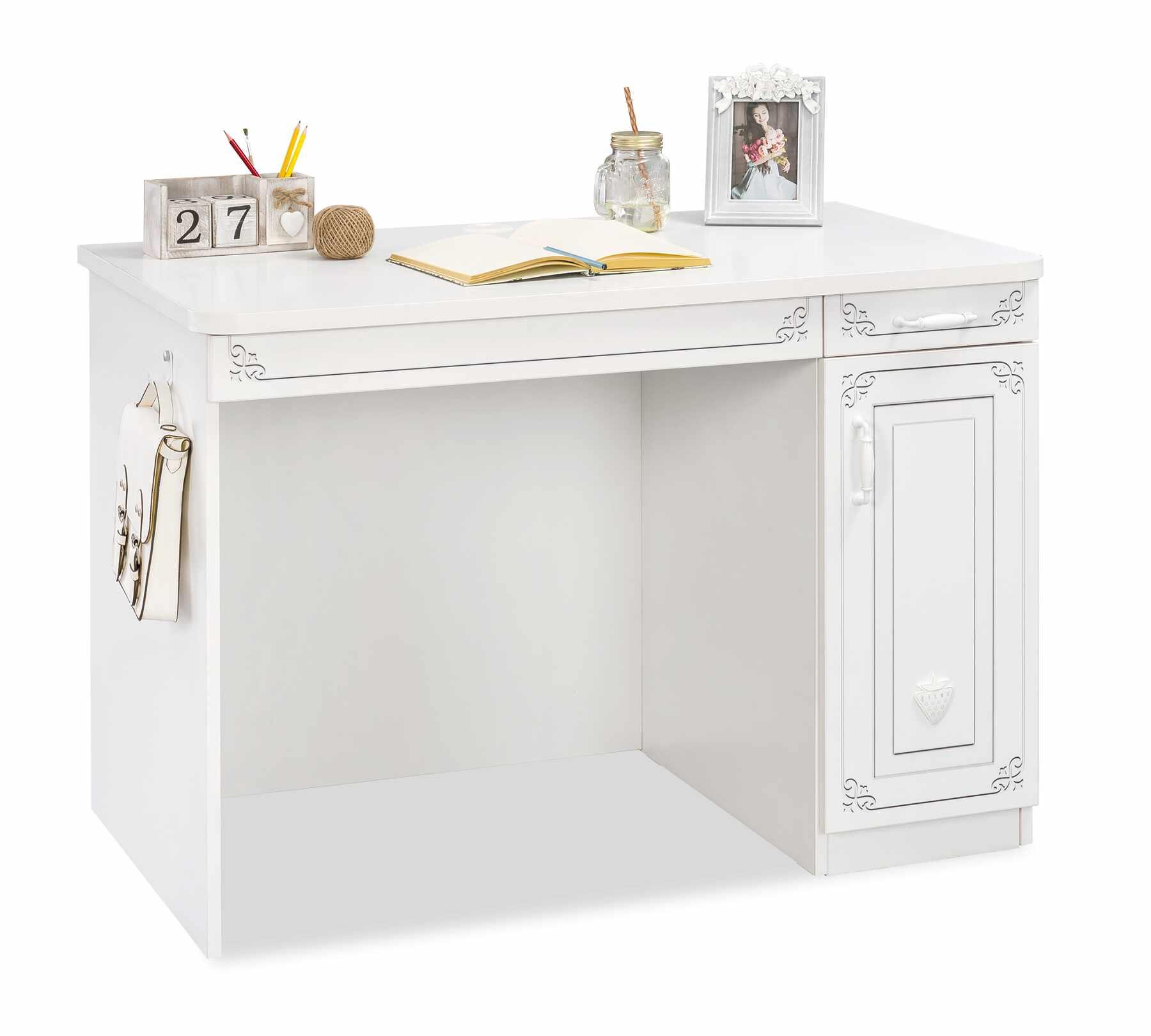 Masa de birou din pal cu 1 usa si 2 sertare, pentru tineret Selena Alb, l113xA64xH75 cm la pret 574 lei