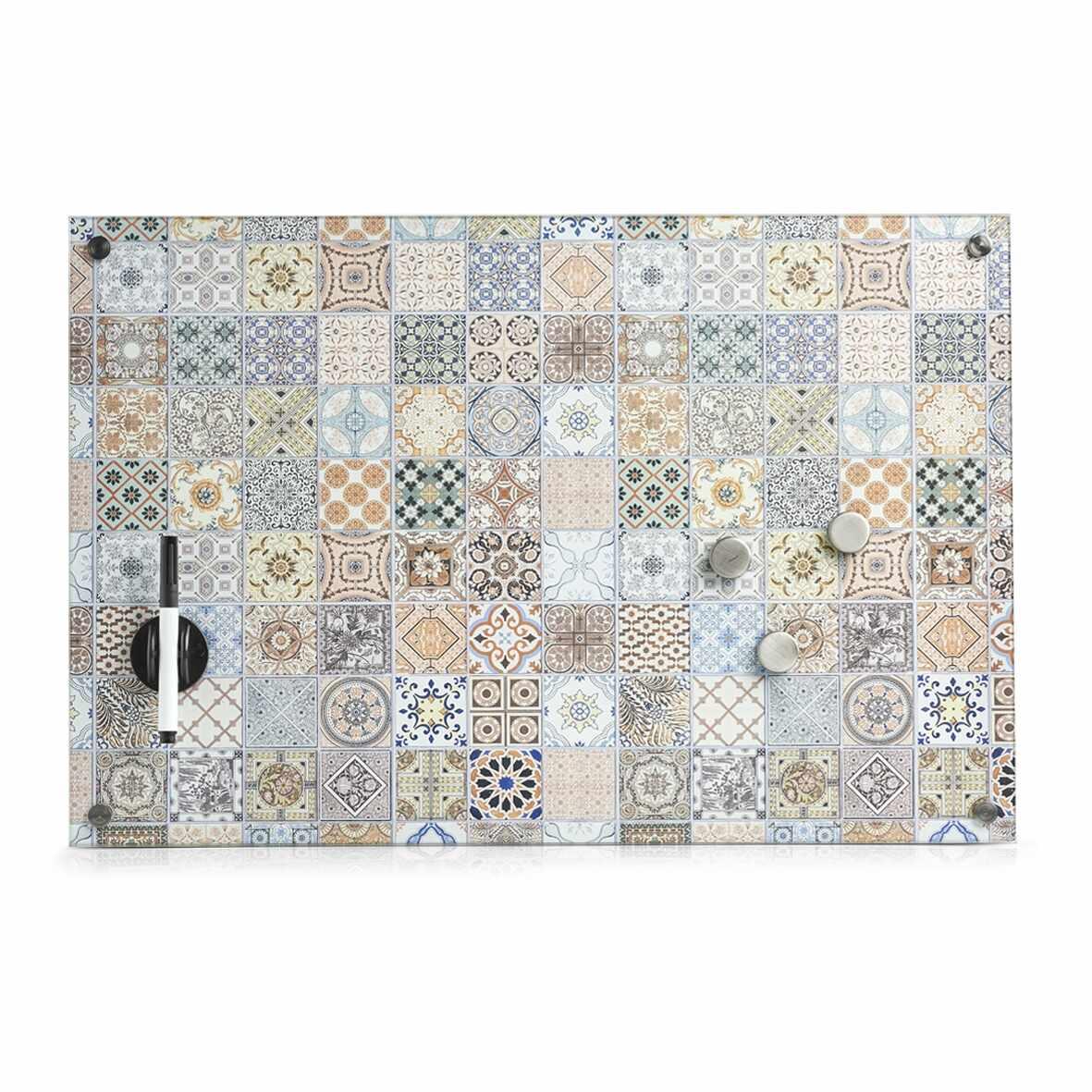 Memo Board din sticla cu 4 accesorii, Mosaic Multicolor, L60xl40 cm la pret 161 lei