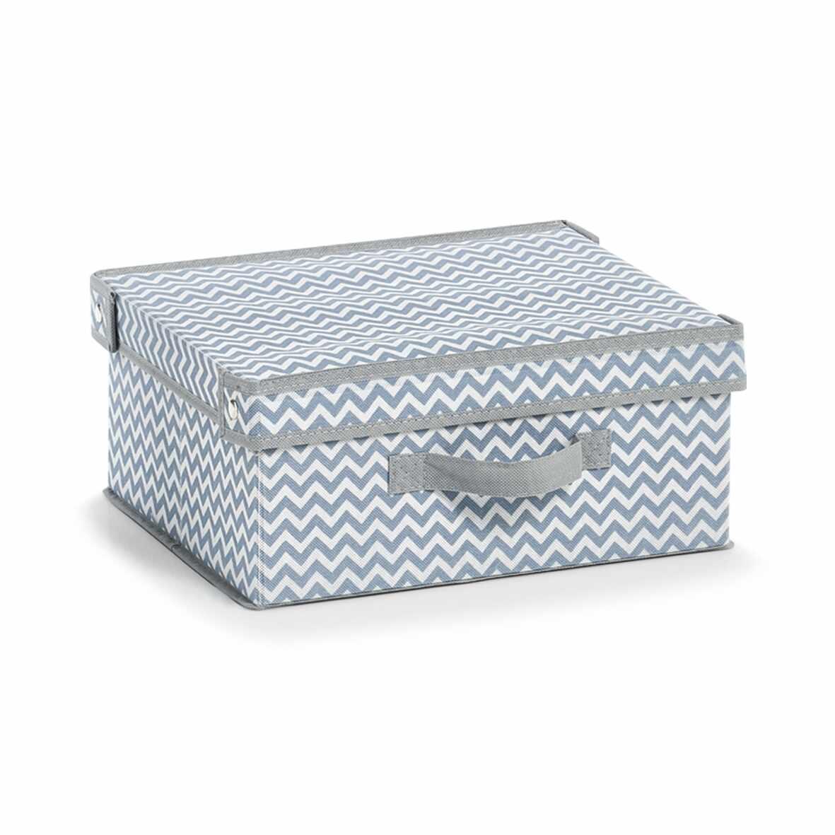 Organizator textil pliabil pentru sertar cu capac, Alb / Gri Zig Zag, l33xA28xH15 cm la pret 38 lei