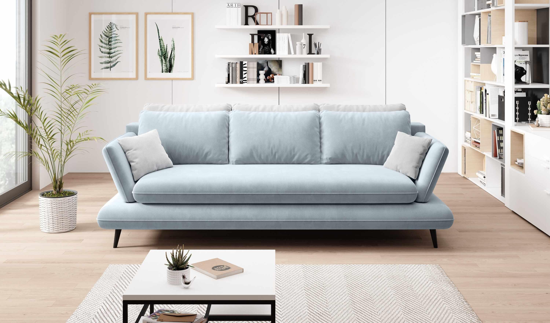Canapea extensibila cu lada de depozitare, tapitata cu stofa 3 locuri Monte Bleu / Gri, l242xA110xH75 cm la pret 3955 lei