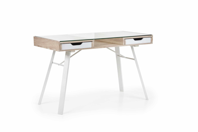 Masa de birou din sticla, MDF si metal, cu 2 sertare B-33 Stejar Sonoma / Alb, L120xl60xH76 cm la pret 611 lei