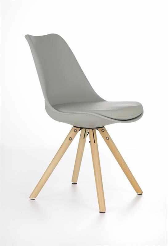 Scaun tapitat cu piele ecologica, cu picioare din lemn K201 Khaki, l48xA57xH81 cm la pret 179 lei
