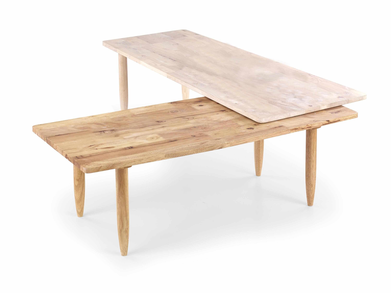 Set 2 masute de cafea din lemn Bora Bora White Wash / Natural, L120-200xl50xH43 cm la pret 389 lei