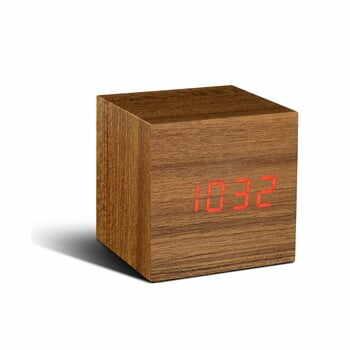 Ceas deșteptător cu display LED roșu Gingko Cube Click Clock, maro la pret 194 lei