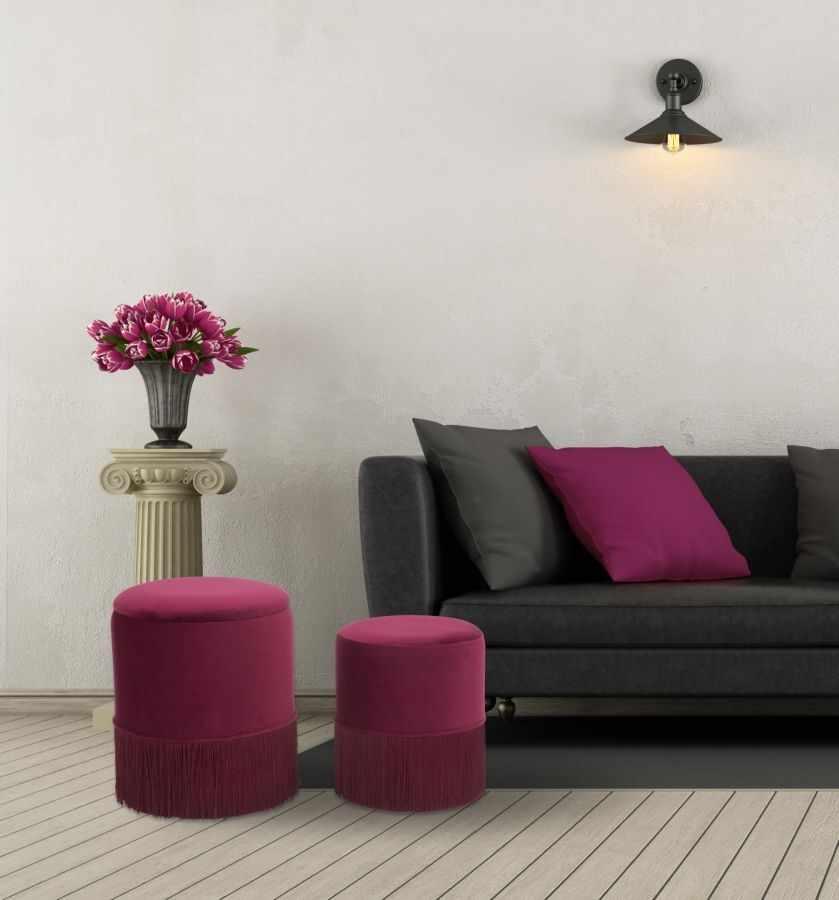 Set 2 taburete tapitate cu stofa Lines Velvet Bordeaux, Ø35xH42 / Ø30xH32 cm la pret 461 lei