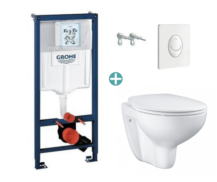 Set rezervor Grohe Rapid SL cu clapeta Skate Air alba si vas wc Grohe Bau Ceramic Rimless capac soft close la pret 1378 lei