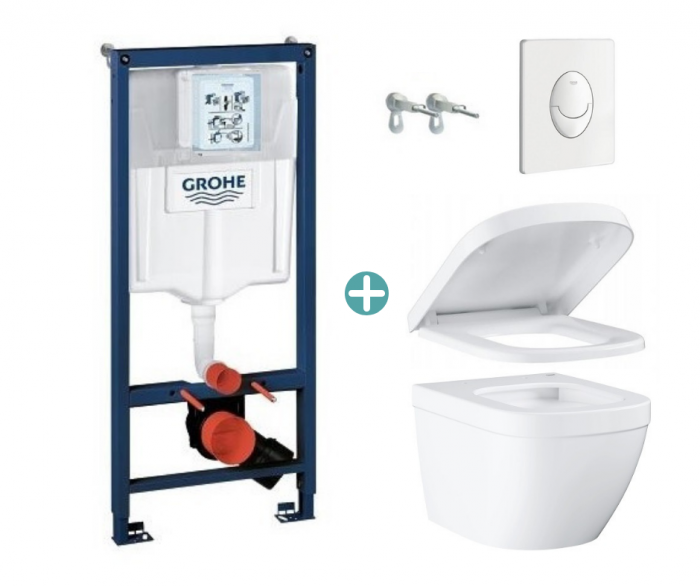 Set rezervor Grohe Rapid SL cu clapeta Skate Air alba si vas wc Grohe Euro Ceramic Triple Vortex capac soft close la pret 1988 lei