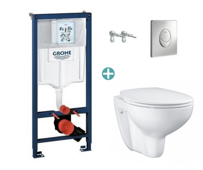 Set rezervor Grohe Rapid SL cu clapeta Skate Air crom si vas wc Grohe Bau Ceramic Rimless capac soft close la pret 1378 lei