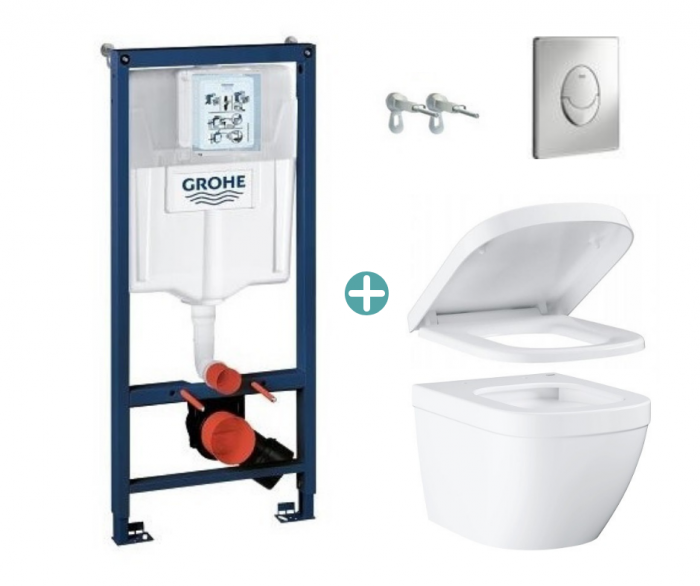 Set rezervor Grohe Rapid SL cu clapeta Skate Air crom si vas wc Grohe Euro Ceramic Triple Vortex capac soft close la pret 1988 lei