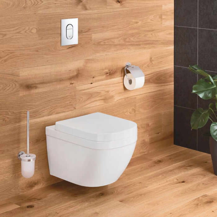 Set vas wc suspendat Grohe Euro Ceramic Compact Rimless Triple Vortex si capac softclose la pret 1139 lei