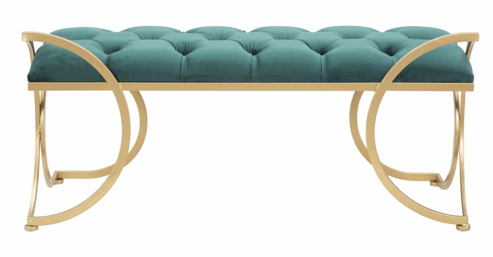 Banca tapitata cu stofa si picioare metalice Luxy Velvet Verde / Auriu, l103xA43xH47 cm la pret 1105 lei