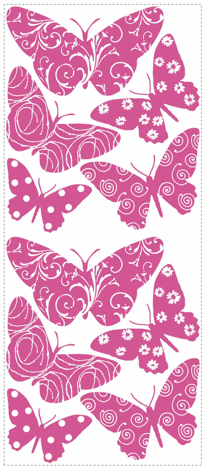 Stickere catifea FLOCKED BUTTERFLY | 1 colita de 45,7 cm x 101,6 cm