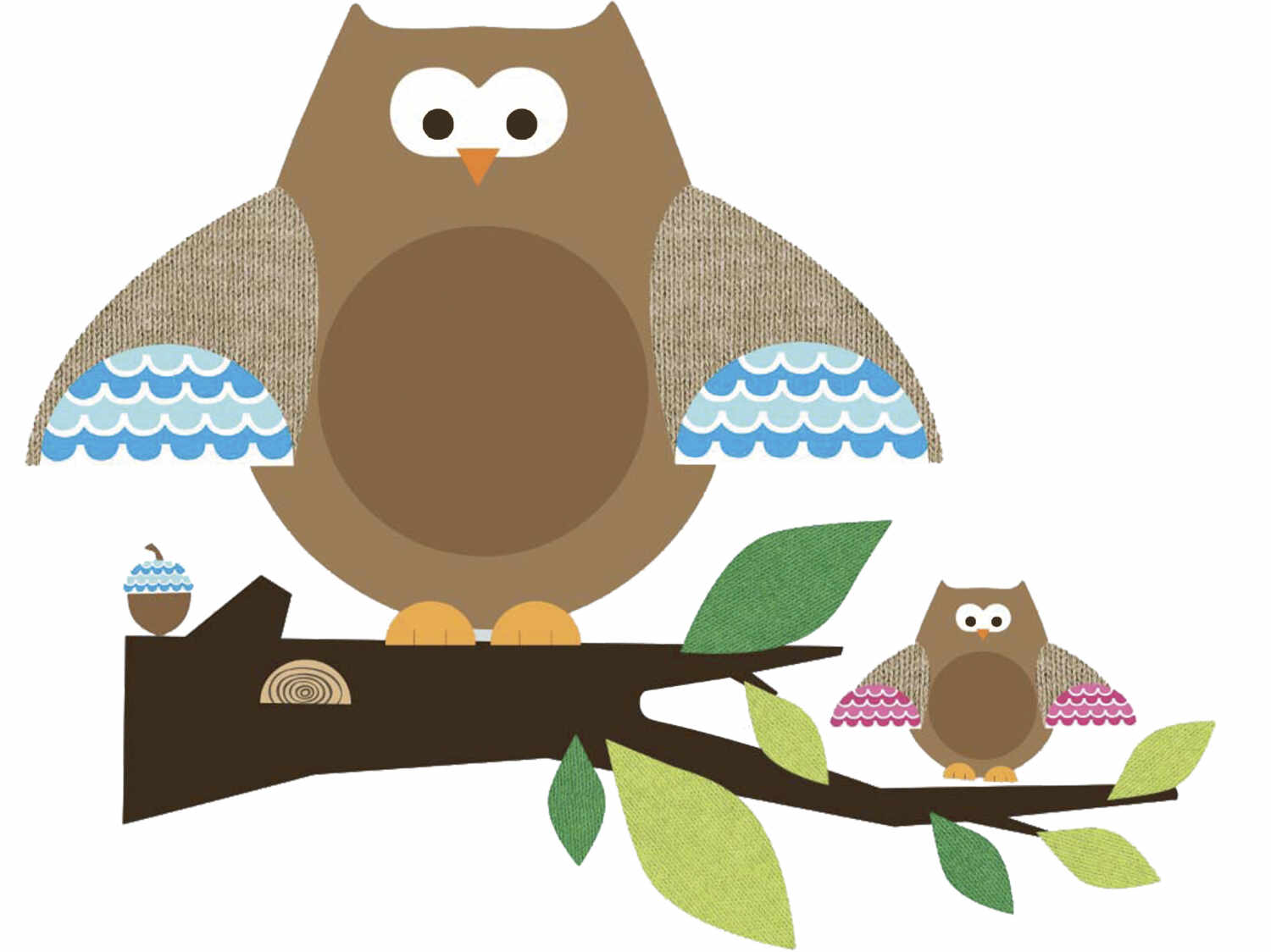 Stickere gigant OWLS and BRANCHES | 2 colite de 45,7 cm x 101,6 cm la pret 209 lei
