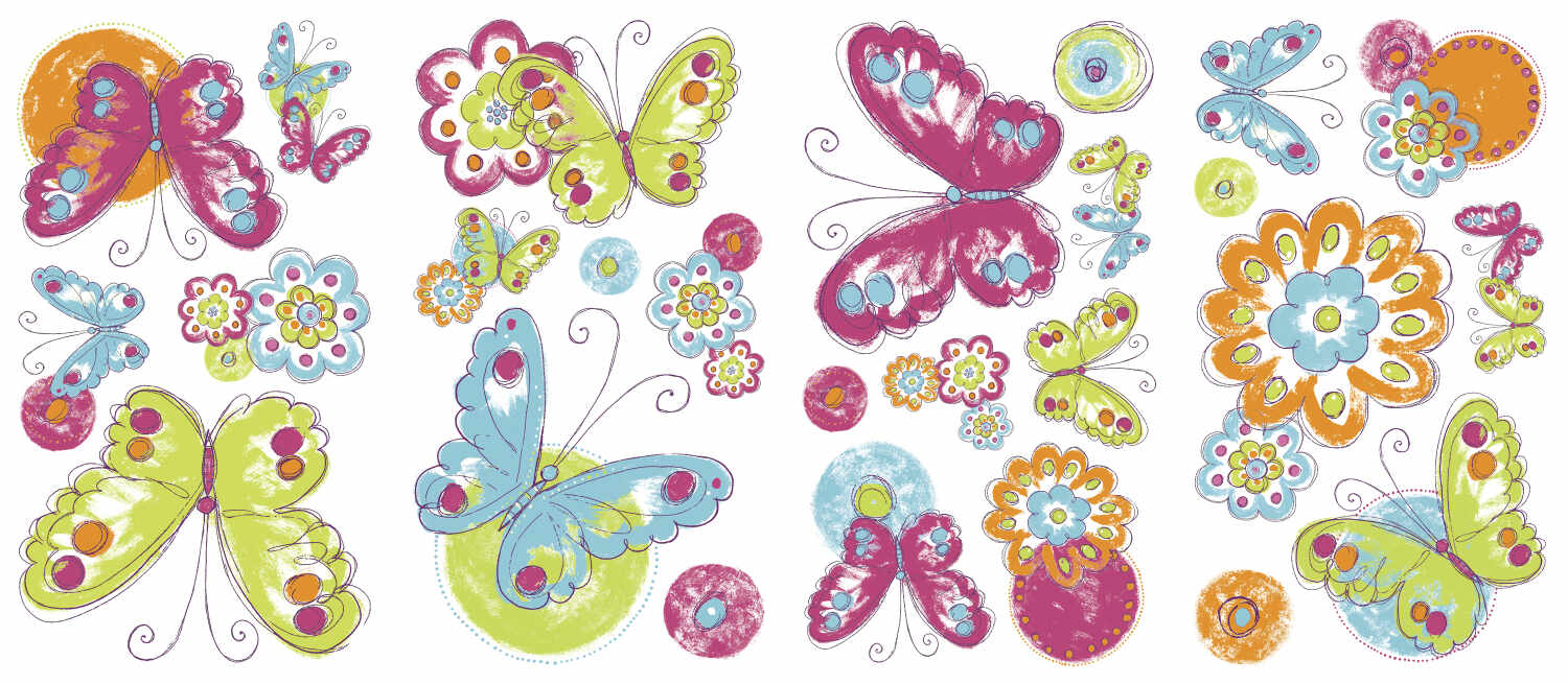 Sticker BRUSH WORK BUTTERFLY | 4 colite de 25,4 cm x 45,7 cm