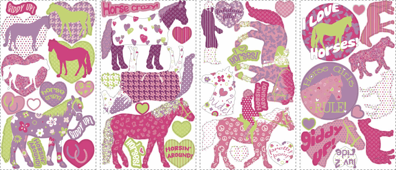 Sticker decorativ HORSE CRAZY | 4 colite de 25,4 cm x 45,7 cm