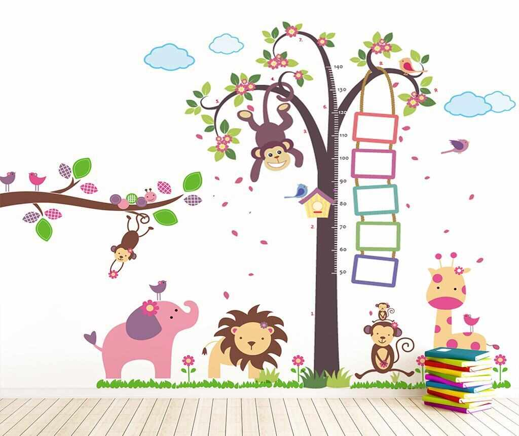 Sticker Monkey Height Measure and Animals la pret 55.99 lei