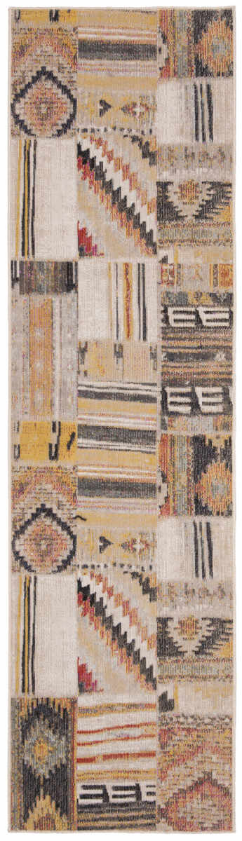 Covor Patchwork Leighton, Taupe/Multicolor, 62x240