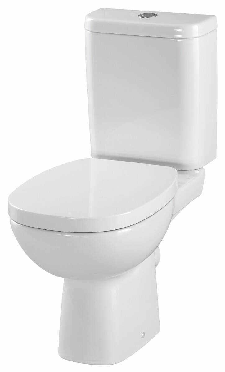 Set Vas WC compact Facile, Cersanit, cu capac WC duroplast, rezervor WC 3/6 L admisie laterala, evacuare orizontala la pret 610.91 lei