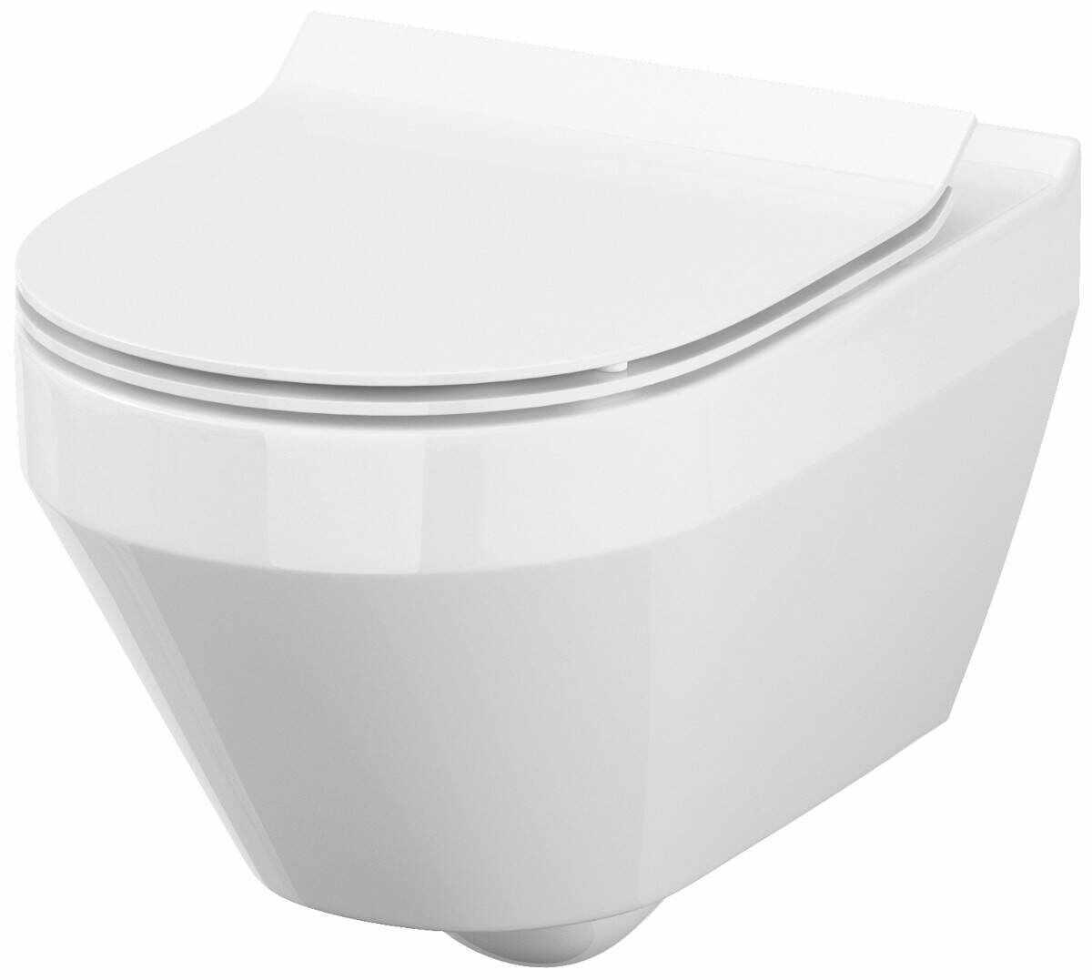 Vas WC suspendat Crea, Cersanit, 3/5 L, fara capac WC, oval, alb la pret 833.28 lei