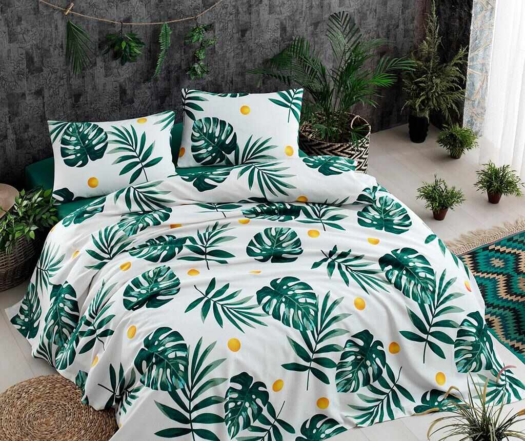 Lenjerie de pat Double Pique Monstera Green la pret 159.99 lei